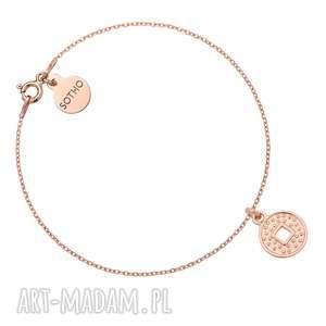 bransoletka z monetą różowego złota, bransoletka, zawieszka, okrągła, moneta