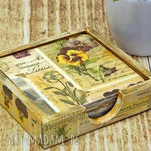 Podkładki pod kubki- vintage flowers, podkładki, podstawki, drewniane, pod, kubki