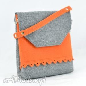 hand-made mini torebka z filcu - 2 kolory szara pomarańczem