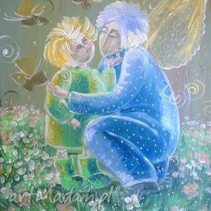 aniołek z dzieckiem 40x50 cm oryginał, obraz, sztuka, prezent, komunia, anioł