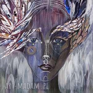 obraz ręcznie malowany na płótnie - uskrzydlona, obraz, ręcznie, malowany