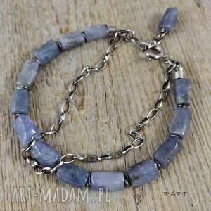 irart bransoletka z surowych bryłek tanzanitu w oksydowanym srebrze - 470