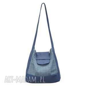 26-0001 niebieska torebka worek na zakupy humming-bird, damskie, duże, modne, torebki