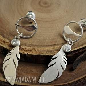 Srebrne kolczyki ptaszki z piórkami jachyra jewellery ptaszki