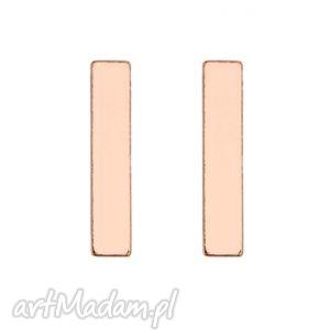 hand-made kolczyki kolczyki prostokąty z różowego złota