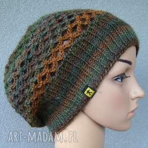 czapka - beret ażurowy kolory, czapka, beret, ażur, ażurowa, cieniowana