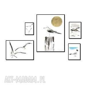 zestaw 5 grafik mewy, ręcznie malowane, oryginał, grafika, morze, obrazy