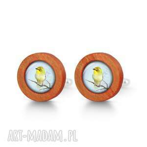 LiliArts - żółty ptak - drewniane spinki do mankietów red - spinki mankietów