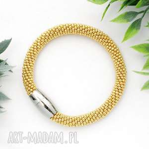 bransoletka koralikowa glamour gold, bransoletki, koralikowa, zkoralikow, złota, stal