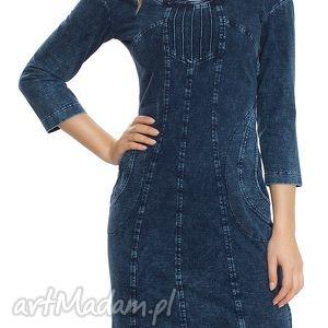 Sukienka do pracy z dzianiny jeansowej fantazyjnym dekoltem, wygodna, jeansowa