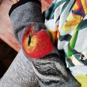 ręcznie zrobione rękawiczki mitenki w kolorze szarym filcowane wełna merynosów -prod