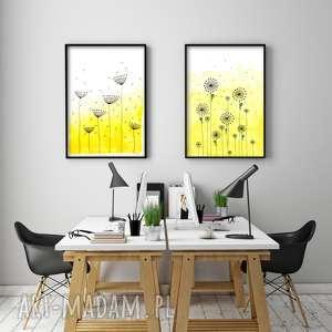 Zestaw 2 prac A2, łąka, kwiaty, akwarela, plakat, obraz, plakaty