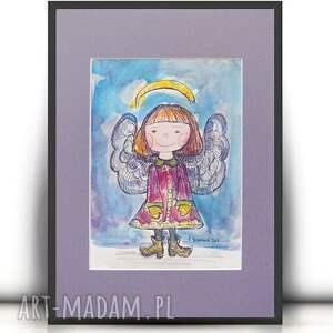 Aniołek obrazek ręcznie malowany, aniołek do pokoju dziecka, rysunek z aniołkiem