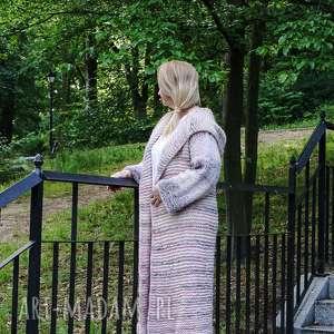 długi wełniany płaszcz wrzosowe pole, płaszcz, dziergany, wełna, na drutach