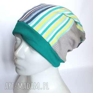 handmade czapki czapka patchworkowa damska smerfetka na podszewce długa rozmiar