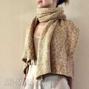 Cieniowany beżowy szal z bawełny szaliki anna damzyn szal