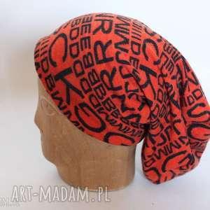 czapki czapka na podszewce pomarańczowa dzianinowa miękka, czapka, etno, boho