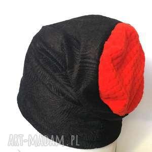 czapka czarna materiał wiosna - czapka, etno, wiosna, damska, boho, rower