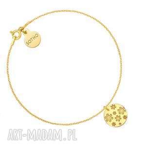 złota bransoletka z grawerowanymi śnieżynkami, bransoletka, śnieżynki, prezent