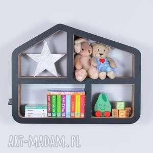 półka na książki zabawki domek ecoono czarny - półka