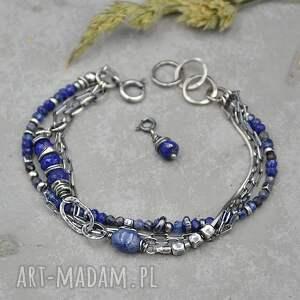 handmade kianit, szafir i lapis lazuli. Bransoletka 156