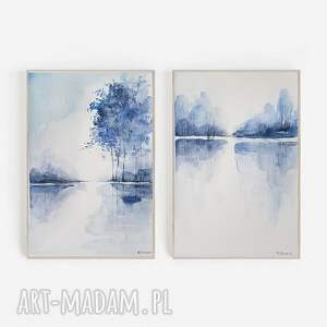paulina lebida niebieskie pejzaże-dwie akwarele, pejzaż, akwarela