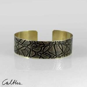 pajęczyna - mosiężna bransoleta 2108-02, bransoletka, metalowa