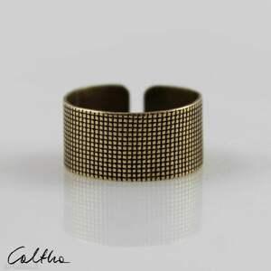płótno - mosiężny pierścionek 191007-02 #, pierścień, pierścionek, obrączka