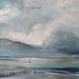 morze-obraz akrylowy formatu 40/40 cm, morze, łodzie, obraz, płótno, kwadrat