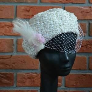 Beret chanel czapki fascynatory beret, chanel, woalka,