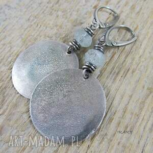 koła z akwamarynem - kolczyki 453, srebro oksydowane, kolczyki, akwamaryn