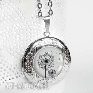 medalion sekretnik z dmuchawcem idealny jako oryginalny prezent, medalik, srebrny