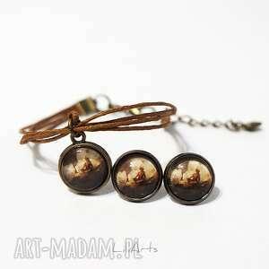 Komplet - medytacja sznureczki, kolczyki, bransoletka, brązowa