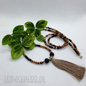 omnis lapis naszyjnik z kamieni naturalnych - chwost i lawa, agat, etno