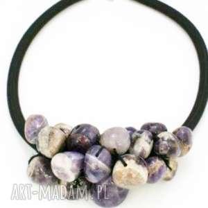 naszyjnik ametyst kolorowy - naszyjnik, korale, ametyst, spleciony, kamienie, bryłki
