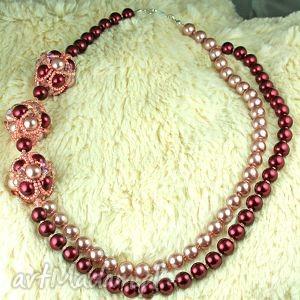 naszyjnik z pereł i kryształków swarovski, naszyjnik, kolia, perły, szkło, swarovski