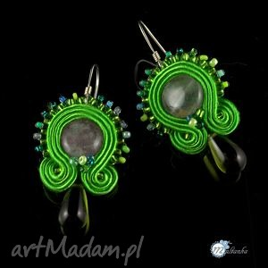 Soczyscie zielone kolczyki suasz - ,kolczyki,sutasz,soutache,wiosenne,