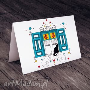 kartki karteczka z okiennicami, kot, kartki, życzenia, folklor, ornament