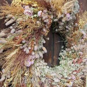 wianek na drzwi lub stół, zboża, rośliny polne, natura, prezent