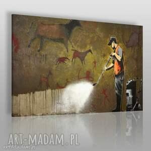 obrazy obraz na płótnie - banksy lascaux 120x80 cm 20008 , banksy, streetart