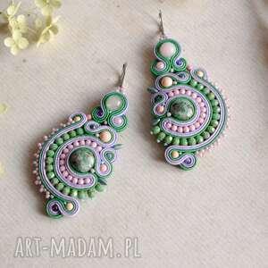kolczyki soutache w odcieniach zieleni i różu, biżuteria soutache