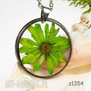 z1354 naszyjnik z suszonymi kwiatami herbarium, terrarium, biżuteria
