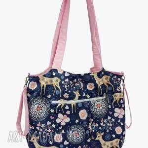 torba shopper z mocowanim do wózka sarenki na granacie różem, shopperka