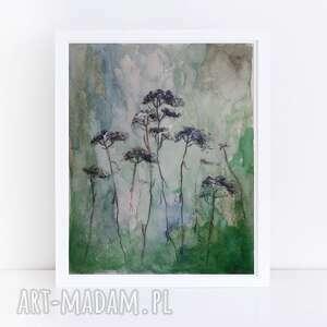 zielona łąka - akwarela formatu 12,5/18
