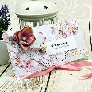Kartka z okazji ślubu - różana delikatność scrapbooking kartki