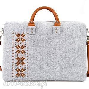 hand-made torebki filcowa torebka romby brązowe