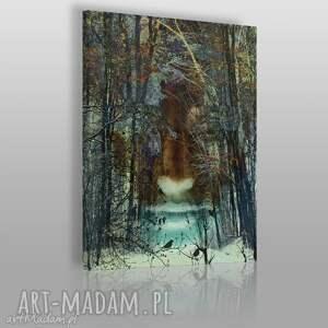 obraz na płótnie - las twarz - 50x70 cm 09201 - twarz, las, ciemny, mrok, drzewa