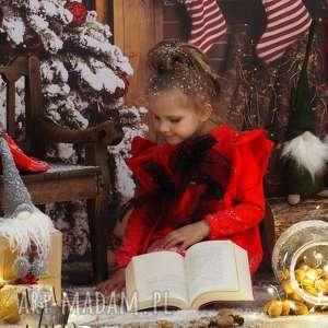 sukienka świąteczna dla dziewczynki czerwona, świąteczna