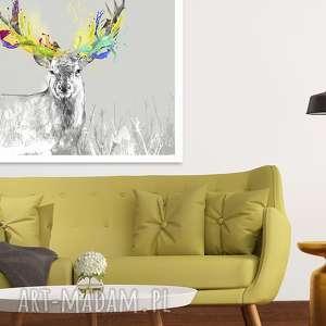 Obraz na płótnie - 120x80cm JELEŃ EKSPLOZJA BARW 02209 wysyłka w 24h, grafika, obraz