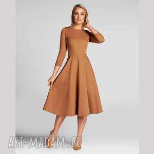 sukienki sukienka klara 3/4 total midi carmel, midi